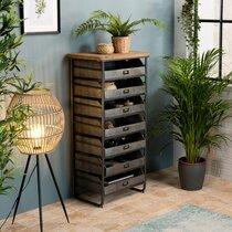 Chiffonnier 7 tiroirs 56x38x115 cm en bois et métal - POKEY