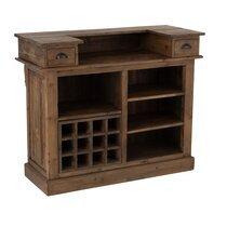 Bar 2 tiroirs 120x50x100 cm en bois recyclé marron