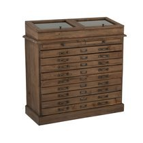 Buffet 11 tiroirs avec vitrine en bois recyclé marron