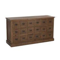 Commode 18 tiroirs 160x49x85 cm en bois recyclé marron