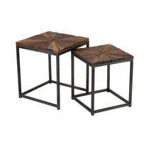 Lot de 2 tables carrées 43 et 38 cm en bois et métal - SHANIL