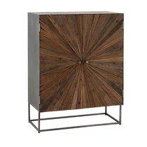 Buffet 2 portes 85x42x110 cm en bois et métal - SHANIL