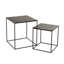 Lot de 2 tables d'appoint 50 et 40 cm en aluminium noir - AXELLE