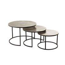 Lot de 3 tables gigognes 80, 60 et 50 cm en aluminium argent - AXELLE