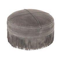 Pouf rond à franges 50x25 cm en cuir et coton gris