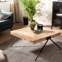 Table basse carrée 80 cm en manguier et métal - PILEA