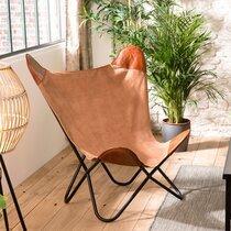 Fauteuil papillon 93x70x92 cm en toile et cuir marron - PILEA