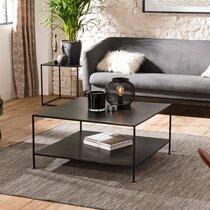 Table basse carrée 80x41 cm en métal noir - PILEA