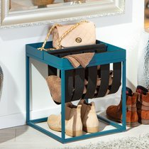 Porte revues 35x35x40 cm en métal bleu foncé et feutre