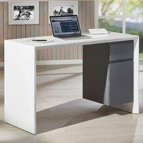 Bureau 120x50x75 cm blanc brillant et gris