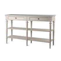 Console double 2 tiroirs en bois blanc - BLAISE