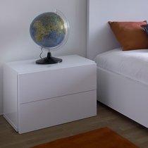 Chevet 2 tiroirs décor blanc mat - PRESTON