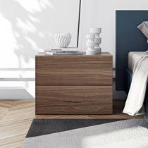 Chevet 2 tiroirs décor noyer vernis - PRESTON