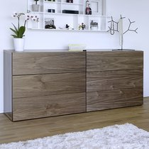 Commode 6 tiroirs décor noyer vernis - PRESTON