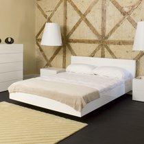 Lit 180x200 cm avec sommier décor blanc mat - WILDA