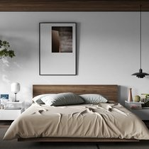 Lit 160x200 cm décor noyer vernis - WILDA