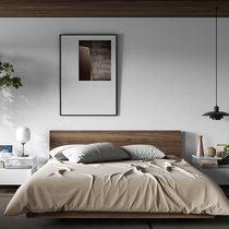 Lit 180x200 cm décor noyer vernis - WILDA