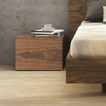 Chevet 1 tiroir décor noyer vernis - WILDA