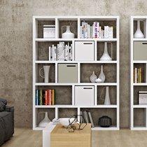 Etagère 5 niveaux 150x34x198 cm décor blanc mat - POPPY