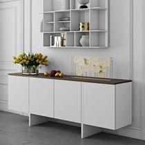Buffet 4 portes 200x42x76 cm décor blanc mat et plateau noyer vernis
