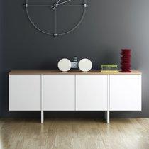 Buffet 4 portes 200x42x76 cm décor blanc mat et plateau chêne vernis