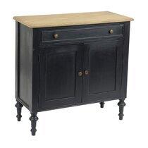 Buffet 2 portes et 1 tiroir en bois naturel et noir - BELMON