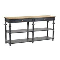 Console double 2 tiroirs en bois naturel et noir - BELMON