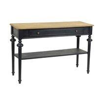 Console 1 tiroir 120 cm en bois naturel et noir - BELMON