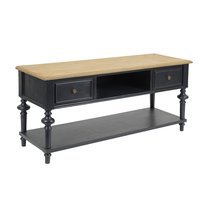Meuble TV 2 tiroirs en bois naturel et noir - BELMON