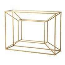 Console 110x35x80 cm en verre et métal doré