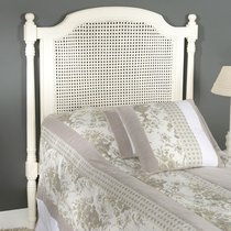 Tête de lit 100 cm en bois et rotin blanc