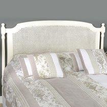 Tête de lit 160 cm en bois et rotin blanc