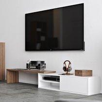 Meuble TV modulable 1 porte décor noyer vernis et blanc - ARMEL