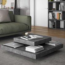 Table basse avec 4 plateaux 90x90 cm en bois effet béton et noir