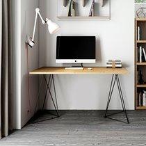 Bureau 140 cm avec plateau chêne et pieds design noirs - GOZAR