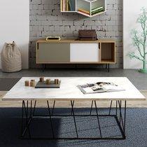 Table basse 120 cm plateau en marbre blanc piètement noir - TONKY
