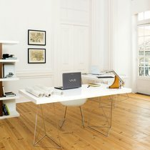 Bureau 160 cm avec plateau blanc et pieds design chromés - GOZAR