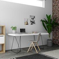 Bureau 160 cm avec plateau blanc et pieds design noirs - GOZAR