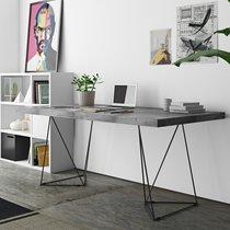 Bureau 160 cm avec plateau aspect béton et pieds design noirs - GOZAR