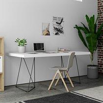 Bureau 180 cm avec plateau blanc et pieds design noirs - GOZAR