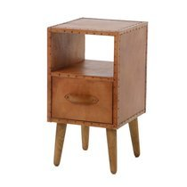 Chevet 1 tiroir 35x35x64 cm en bois et cuir marron