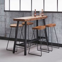 Table de bar 125 cm en acacia naturel et 4 tabourets en acacia