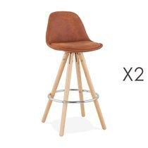 Lot de 2 chaises de bar H65 cm en tissu marron - CIRCOS
