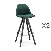 Lot de 2 chaises de bar H65 cm tissu vert foncé pieds noirs - CIRCOS