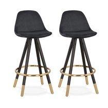 Lot de 2 chaises de bar H65 cm noir pieds noirs et dorés - CIRCOS