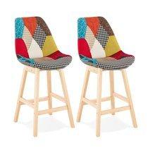 Lot de 2 chaises de bar H65 cm en tissu patchwork - ELO