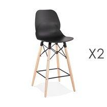 Lot de 2 chaises de bar H68 cm blanches et pieds naturels - LAYNA