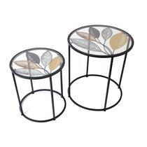 Bouts de canapé ronds en verre et métal décor feuilles - BREL