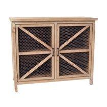 Buffet 2 portes 93x41x77 cm en bois naturel et métal