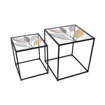 Bouts de canapé carrés en verre et métal décor feuilles